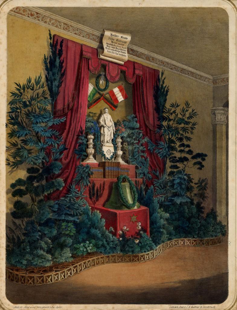 """Schiller-Feier im """"Deutschen Kaffeehaus"""" in Innsbruck 1859 (C) Tiroler Landesmuseum Ferdinandeum/Bibliothek mit freundlicher Genehmigung von Roland Sila"""