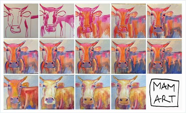 Aguasdimarco vom ersten Schritt bis zur endgültigen Kuh. Ein Logo hat Maren Martschenko als Malerin auch.